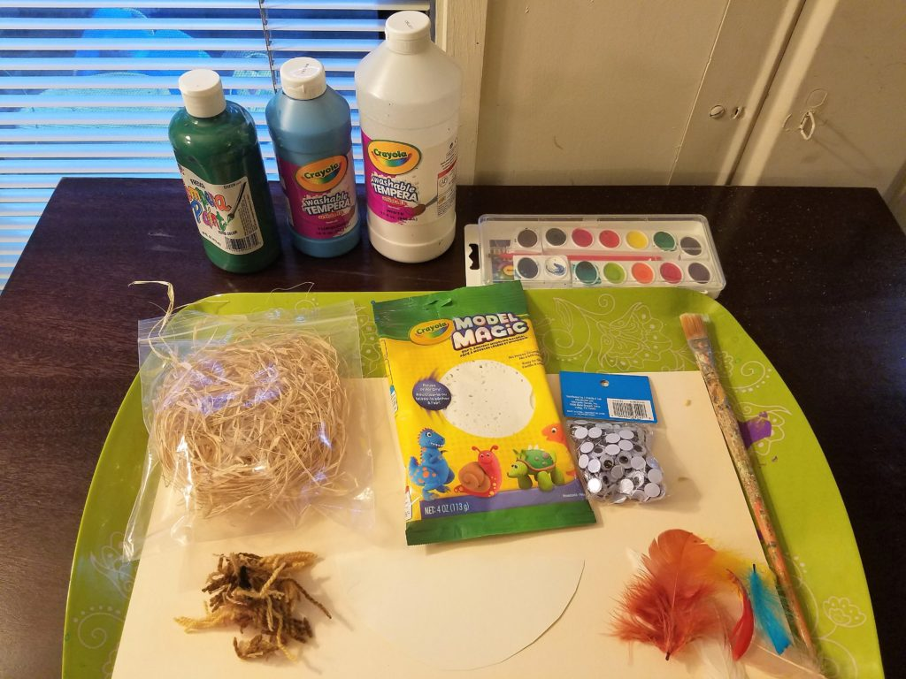 Multimedia Bird Art: Setting out all the supplies before staring a multimedia art project helps the art experience to flow smoothly for the parent and keeps the momentum going for the young artist