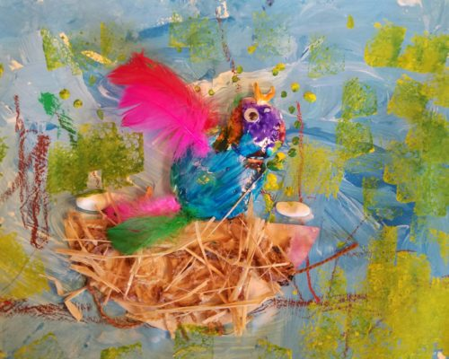 Multimedia bird painting: Kids combine paint, pastel drawing, model magic, and found objects to create a textured bird
