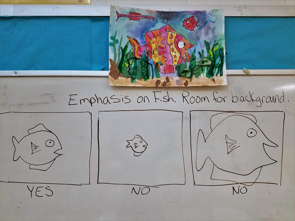 Multimedia fish painting: Step one is drawing the fish large for emphasis, but not to large.