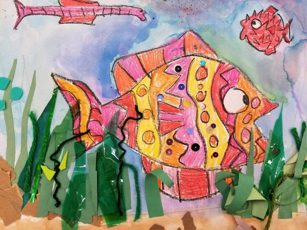 crayon resist fish painting