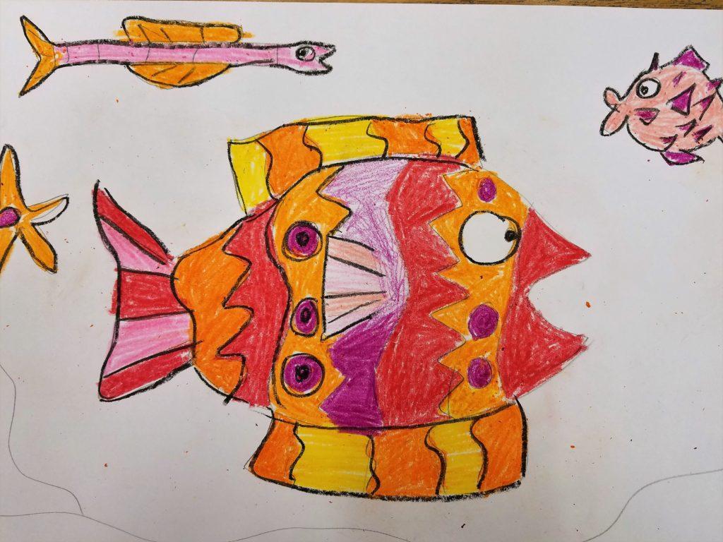 adding crayon to crayon and watercolor resist art