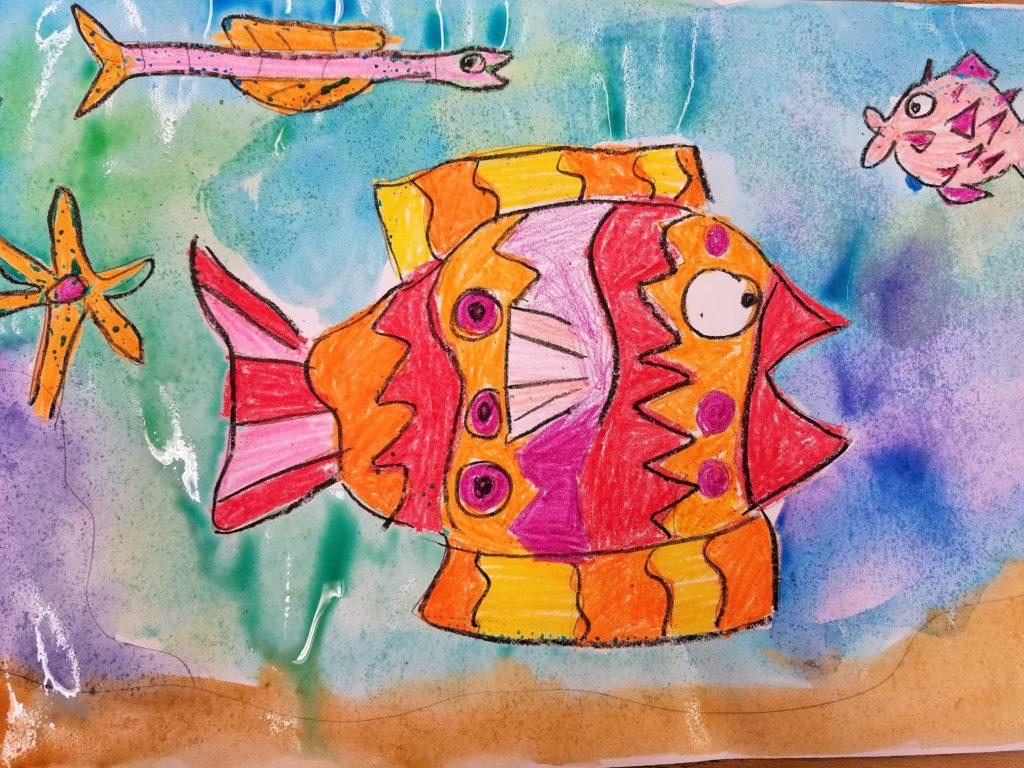 crayon and watercolor resist art