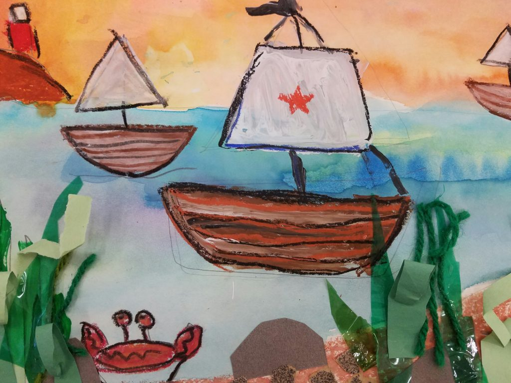 a seascape painting for kids