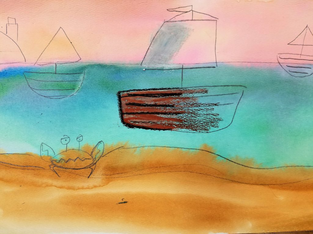 adding pastels to a seascape painting
