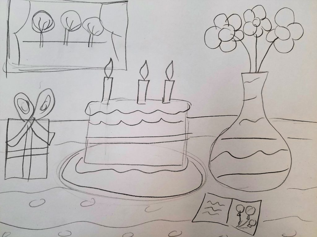 sketch of a still life to celebrate a special day
