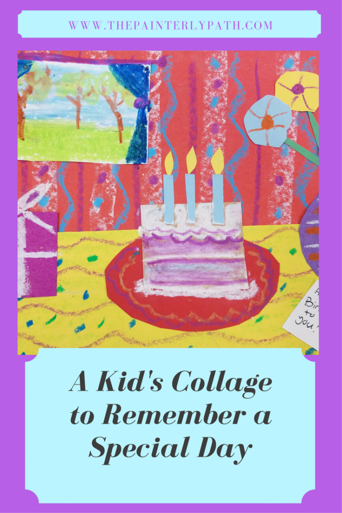 A Kid's Still Life Collage to Rember a Special Day.  Create a still life using collage and pastel drawn details to show a special time.  Great for remembering holidays.  Kids will learn how to use basic collaged shapes to build thier images and how to use oil pastels for details.