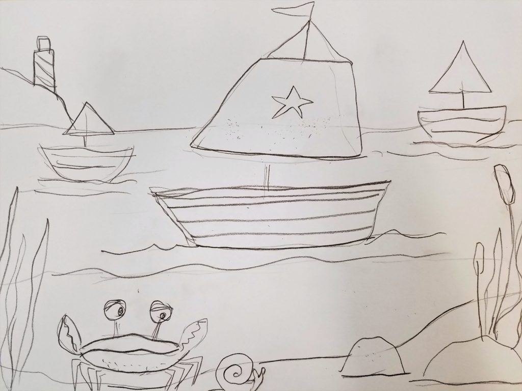 a sketch of a seascape painting