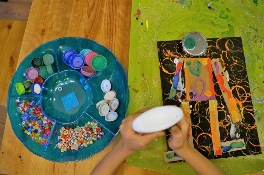 Teaching shapes with recycled robot art