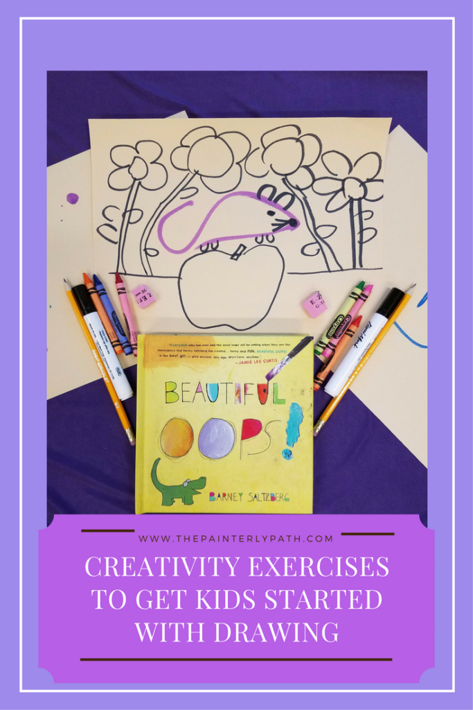 Creative exercises to get kids started drawing. Inspired by The Beautiful Oops, by Barney Saltzberg, kids learn how to transform a mistake into something beautiful. A great activity for teaching creative problem solving skills. A fun and simple introduction to drawing and creativity for kids!
