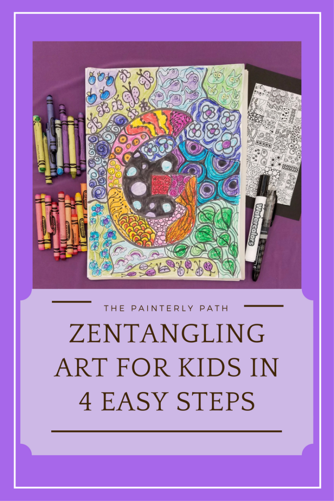 Kids zentangle artwork in four easy steps: A creative drawing activity where kind create their own original letter design for a sketchbook cover